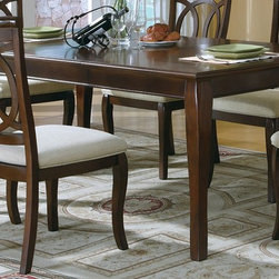 Monarch Specialties - 76 in. Dining Table w Curved Legs - Rectangular shape. Sunburst pattern. Adjustable extension leaf. Seats upto 6. Walnut finish. 76 in. L x 42 in. W x 30 in. H (122 lbs.)
