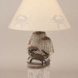 Coast Lamp Manufacturing - Cottage One-Light Iron Dock Piling Table Lamp with Crab and Net - -Proudly made in the USA. Coast Lamp Manufacturing - 28BB