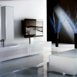 Italydesign Studios - Modern Flat TV Composition 7D - Never before have sensuality, technology, and chic style been combined and applied to media furnishings so successfully as in the Modern Flat TV Composition 7D system. High tech audio/video equipment demands equally sophisticated cabinetry to properly showcase it.