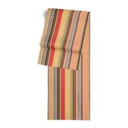Red & Orange Modern Stripe Custom Table Runner - Get ready to dine in style with your new Simple Table Runner. With clean rolled edges and hundreds of fabrics to choose from, it's the perfect centerpiece to the well set table. We love it in this purple, lime and taupe multi stripe that feels modern with a need for speed.