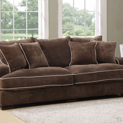 None - Emerald Caresse Mocha Down Filled Sofa - Mocha cover with buckwheat welting over solid wood frame,8-way,hand-tied springs,feather blended/foam cushions and pillows and wood leg. Reversible back cushion and loose seats.