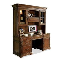 Riverside Furniture - Bristol Court Computer Credenza - Drop-front knee drawer with 2-outlet power bar.