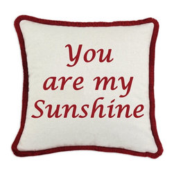 DKei Inc. - D'Kei Valentines Graphic Pillow Sunshine Lucida Multicolor - P17-VAL27-49-RD - Shop for Pillows from Hayneedle.com! Surprise your loved one with the D'Kei Valentines Graphic Pillow Sunshine Lucida. Crafted with 75% cotton and 25% linen this fluffy pillow is stuffed with 100% hypoallergenic polyfill. The embellished inscription reads You are my Sunshine in eco-friendly water-based inks. Along each side of this pillow is a cord edge in a soft red brush fringe. A hidden zip closure is found next to the edging.