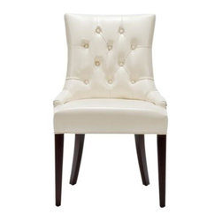 Safavieh Furniture - Amanda 24 in. Side Chair - Button-tufted design. Dark mahogany legs. Made from Leather. No assembly required. 24 in. W x 22 in. D x 36 in. H (24 lbs.)This sleek safavieh amanda cream leather will add a new dimension to your dining room or living room.