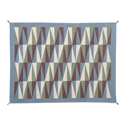 100% Wool Area Rug, 6'X9' Navajo Design Reversible Hand Woven Rug SH11507 - Soumaks & Kilims are prominent Flat Woven Rugs.  Flat Woven Rugs are made by weaving wool onto a foundation of cotton warps on the loom.  The unique trait about these thin rugs is that they're reversible.  Pillows and Blankets can be made from Soumas & Kilims.