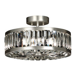Fine Art Lamps - Crystal Enchantment Semi-Flush Mount, 815740ST - This wheel-shaped contemporary ceiling lamp dazzles with multifaceted crystal panels that create extraordinary refractions of light. The silver metal frame is sleek, modern and informal, giving the lamp versatile style.