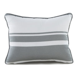 "Oilo - 13"" X 17"" Triple Band Pillow, Stone - Manufactured from 100% woven cotton and encased in a high-quality zippered enclosure, Oilo's dapper collection of eco-friendly, dacron-filled pillows are the secret to spicing up any room. Oilo pillows provide the perfect accent for cribs, gliders, bedding and more."