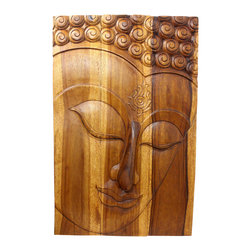Kammika - Buddha Panel Ushnisha Sust Wood 24 x 36 inch Ht w Livos Eco Friendly Walnut Oil - This inspiring Buddha Panel Ushnisha 24 inch Length x 36 inch H Sustainable Wood in Eco Friendly, Natural Livos Walnut Oil Finish wall panel presents Ushnisha - a three dimensional oval at the top of the head of the Buddha. It symbolizes his wisdom and openness as an enlightened being. The first representations of the Buddha in the 1st century CE in the Greco-Buddhist art of Gandhara also represent him with a topknot, rather than just a cranial knob. It is thought that the interpretation of the Ushnisha as a supernatural cranial protuberance happened at a later date, as the representation of the topknot became more symbolized and its original meaning was lost (Mario Bussagli, L art du Gandhara). The mark of Ushnisha symbolizes his wisdom and openness as an enlightened being.  This Ushnisha Buddha wall panel has been carved from three joining panels. Three joined panels have two embedded hangers on the topmost securing crossbar on the back for a protruding screw from your wall.  Hand carved in Thailand, the panels are made of sustainable wood grown specifically for the wood carving and furniture making industry. Hand rubbed in Eco Friendly, Natural, Food-safe Livos natural non toxic Walnut tone oil that creates a highly water resistant and food safe finish. Color ranges from medium to dark Walnut brown tones that will darken as the wood ages. Each piece is hand carved - no two are alike. After each Eco Friendly Functional Art piece is carved, kiln dried, sanded, and hand rubbed with Livos eco friendly all natural oil, they are packaged with cartons from recycled cardboard with no plastic or other fillers. The color and grain of your stool will be completely unique, and may include small checks or cracks that occur when the wood is dried. Sizes are approximate. Products could have visible marks from tools used, patches from small repairs, knot holes, natural inclusions, and/or worm holes. There may be some slight variation in size, color, texture, and finish color.Only listed product included.