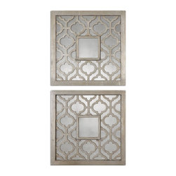 Decorative Square Wall Mirrors Decor Set of 2 - *Frames feature a decorative design finished in antiqued silver leaf with black undertones and antiqued mirrors.
