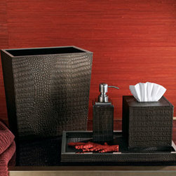 """Horchow - Crocodile Wastebasket - Handcrafted of crocodile-embossed leather, these elegant vanity accessories have stainless steel hardware. Select color when ordering. Imported. Tissue box, approximately 5.25""""Sq. x 5.5""""T. Pump dispenser, approximately 2.75""""Sq. x 8""""T. Tray, approxima..."""