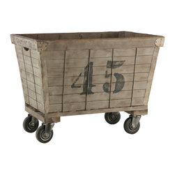 Kathy Kuo Home - Industrial Loft Aged Wood Laundry Cart - Inspired from industrial laundry carts. Rustic metal edges and metal straps in between wood slates add to it's authenticity. Each item will come with a different number chosen at random.