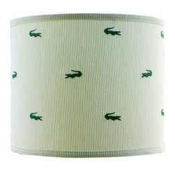 Doodlefish - Small Seersucker Alligator Shade - This whimsical lamp shade is made from classic green and white seersucker with embroidered green alligators. The shade is available in 12x12x10 and 14x14x11. All shades are made to order in the USA and have harp and finial style fittings