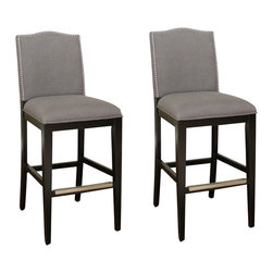 American Heritage - American Heritage Chase Stool in Black - 30 Inch (Set of 2) - Style and comfort come together with a fully upholstered high-back seat that works with any modern decor, from minimalist to eclectic. Lush smoke linen upholstery enhances the black finished wood frame with durable mortise and tenon construction, adjustable leg levelers, comfortable webbed seating, and protective metal footplates.