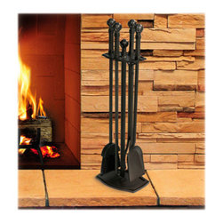 Ball & Claw Tool Set - Burnished Black - Each tool's handle, as well as the stand finial, features a very unique design that helps to place the set apart from others of its kind. Its plain black finish also accentuates this already eye-catching bit of artistry.
