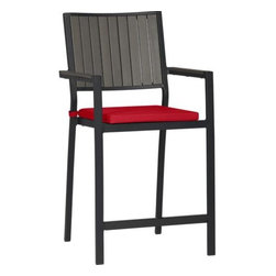 """Alfresco Grey 24"""" Bar Stool with Sunbrella® Ribbon Red Cushion - Casual and stylish Alfresco fools the eye with the look of real wood and fools the elements with waterproof, and UV- and fade-resistant qualities. The result is an outdoor collection that will last season after season for years to come. Slats of innovative polystyrene faux wood are treated with UV and anti-oxidant protection and finished a warm grey. Sturdy but lightweight aluminum frame is powdercoated black. Barstools stack up to four high for easy storage. Cushion in ribbon red is fade- and mildew-resistant Sunbrella® acrylic. Alfresco grey lounge collection also available."""