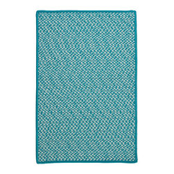 Colonial Mills, Inc. - Indoor/Outdoor Houndstooth Tweed, Turquoise Rug, 5' x 8' - A durable outdoor rug that combines style and practicality. This houndstooth tweed rug is perfect for any indoor or outdoor area that sees a lot of foot traffic! Material: 100% Polypropylene  Ccontruction: Braided  Features: Stain/Fade Resistant, Reversible, Made in USA