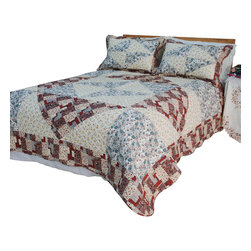 Blancho Bedding - [Floral Journey] Cotton 3PC Vermicelli-Quilted Patchwork Quilt Set (King Size) - The [Floral Journey] Quilt Set (King Size) includes a quilt and two quilted shams. This pretty quilt set is handmade and some quilting may be slightly curved. The pretty handmade quilt set make a stunning and warm gift for you and a loved one! For convenience, all bedding components are machine washable on cold in the gentle cycle and can be dried on low heat and will last for years. Intricate vermicelli quilting provides a rich surface texture. This vermicelli-quilted quilt set will refresh your bedroom decor instantly, create a cozy and inviting atmosphere and is sure to transform the look of your bedroom or guest room. (Dimensions: King quilt: 92.9 inches x 103 inches Standard sham: 24 inches x 33.8 inches)