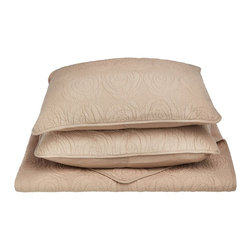 Channing Quilt Set - King - Taupe - The Channing Quilt Set features a a minimalistic embroidered pattern and is available in five different colors. This set is made of 100% cotton and includes (1) Quilt: 106x92 and (2) Pillowshams: 20x36 each.