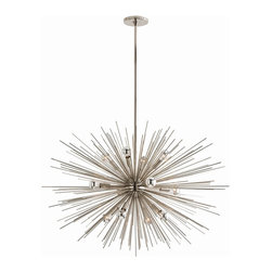 Arteriors - Zanadoo Chandelier, Polished Nickel, Large - Radiate brilliant light — and equally brilliant design — on your favorite setting. This supernova of a chandelier is formed from metal spokes with your choice of polished nickel or antique brass finishes.