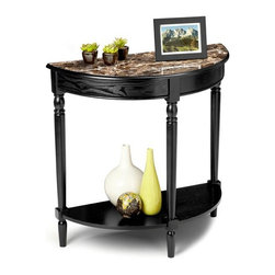 Convenience Concepts - Faux Marble Entryway Table in Black - Lower storage shelf. Solid hard wood legs. Top made from MDF with faux marble veneer. Limited warranty. Assembly required. 31.5 in. W x 14 in. D x 30 in. H (25 lbs.)Matches other items in Faux Marble Collection.