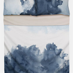 """Blissliving Home """"Pacific"""" 300 Thread Count Duvet Set - Dreamy watercolor bedsheets in Monaco blue are just perfect for snuggling up in."""