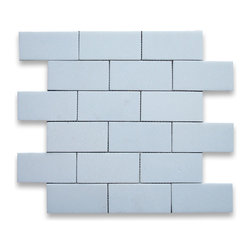 "Stone Center Corp - Thassos White Marble Subway Brick Mosaic Tile 2x4 Honed - Thassos White Marble 2x4"" brick pieces mounted on 12""x12"" sturdy mesh tile sheet"