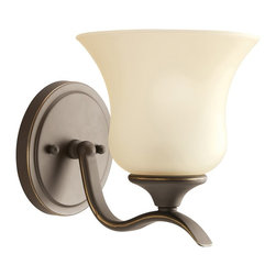 BUILDER - KICHLER 5284OZ Wedgeport Transitional Wall Sconce - A traditional shape with elegant, sweeping curvature, this Kichler Lighting wall sconce comes in a warm, earthy Olde Bronze finish that pairs wonderfully with the tapered shape of the umber etched glass shade.