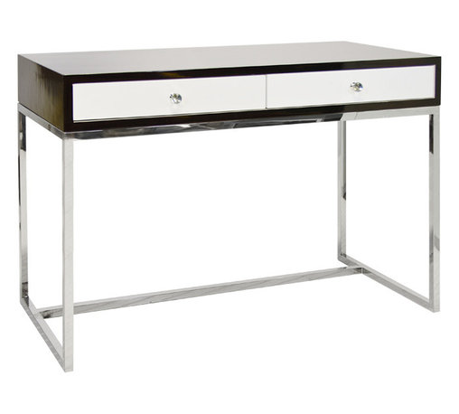 Worlds Away - Worlds Away White Lacquer 2 Drawer Desk On Polished Stainless Steel Base WILLIAM - Worlds Away Rosewood and White Lacquer 2 Drawer Desk On Polished Stainless Steel Base WILLIAM ROSESS