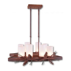 Avalanche-Ranch - Pine Cone Art: Wisley Island Light Light - Rustic Island Lights-Bar Lights-Billiard Lights with Pine Cone artwork - Takes (8) 60W C-Type bulb(s)