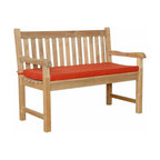 Anderson Teak - Classic 2-Seater Bench - This is simple traditional styling that has not ever and will not ever go out of style, but quietly blends with any d_cor. We have made subtle but careful design changes to ensure excellent back support. Place a single bench under your trees; use a group of benches and chairs for entertaining. The durable teak construction of this heavyweight bench will allow it to withstand constant usage, making it ideal for parks, shopping centers, or any other heavily frequented area. This furniture bench features a comfortable contoured seat that offer a convenient surface. Quality built for generations. Cushion is optional and is being made by order.