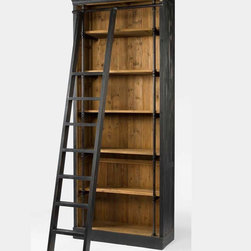 Reclaimed Wood Furniture - Our French Library Bookcase with Ladder is embellished with iron and brass details resemble the French libraries of the 1940's, provide smart and stylish organization for any room. Crafted from iron and recycled pine wood with matte black finish.
