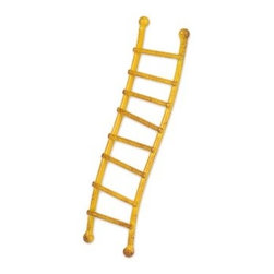 Yellow Ladder - This mini curved ladder designed by Genevieve Gail features all-weather paint and a unique distressed finish. 8 rungs don't make a right.