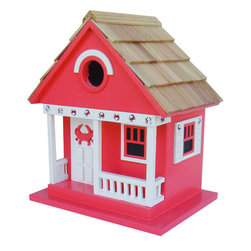 "Home Bazaar - Beachcomber Crab Cottage Birdhouse - Red - Part of our Beachcomber Collection of whimsical, fully functional birdhouses, the Crab Cottage Birdhouse in red features a classic crab motif with ""punched-out"" details along the porch and side window trims. The front door is decorted with a cute, red crab. A removable back wall, drainage, ventilation, an unpainted interior and a 1 1/4"" hole size will invite nesting birds in and keep larger ones out. The finish is an outdoor, water-based, non-toxic paint. Likely inhabitants may include chickadees, nuthatches, wrens and titmice. The convenient, swing-up paddle-board attached to the back makes hanging this beautiful birdhouse as easy as a walk along the seashore. A Four Piece Pre-Pack is available at a reduced, per-unit cost.; Weight: 1.5 lbs; Dimensions: 9.5""H x 8.25""W x 6.5""D"