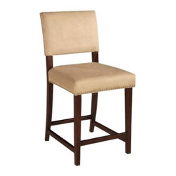 "Linon - ""Linon Corey Bar Height Stool, Stone"" - ""The Corey Stone Stool has a classic traditional style accented with a transitional flair. The stool has a neutral plush upholstered seat and back embellished with a rustic nail head trim. The straight lined legs are finished in a warm brown tone. Perfect for adding to a kitchen counter, bar or island. Some Assembly Required.Dimensions (W x L x H): 18.9"""" x 22.05"""" x 45.08""""Bar Height StoolThe plush Stone fabric upholstered seat and back is accented with nail head trimBrown Finished FrameStationary SeatSome Assembly Required"""