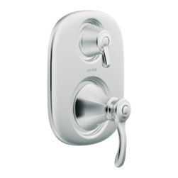 """Moen - Moen T4113 Chrome Moentrol Transfer Valve Trim, 2-Function Balancing Cartridge - Moen T4113 is part of the VESTIGE bath collection. Moen T4113 is a new bathroom decor style by Moen. Moen T4113 has a Chrome finish. Moen T4113 Moentrol transfer valve only trim fits any MPact common valve system or MPact Moentrol 1/2"""" Valve. Valve sold separately. Moen T4113 is part of the Vestige bath collection with its richly detailed lines featuring nostalgic designs and accents that complement traditional decor for today's homes. Moen T4113 transfer valve trim includes dual-function pressure balancing Cartridge. Back to back capability. Moen T4113 is a two lever handle transfer valve trim only, lower handle adjusts temperature and volume, upper handle controls water distribution. Moen T4113 Moentrol pressure balancing valve maintains water pressure and controls temperature. Moen T4113 is approved by ADA. Chrome is a proven finish from Moen and provides style and durability. Moen T4113 metal lever handle meets all requirements ofADA ICC/ANSI A117.1 and CSA to meet CSA B-125, ASME A112.18.1M. Lifetime Limited Warranty."""