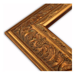 The Frame Guys - Wide Ornate Gold with Double Beaded Edge Picture Frame-Solid Wood, 10x20 - *Wide Ornate Gold with Double Beaded Edge Picture Frame-Solid Wood, 10x20