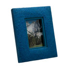 Kouboo - Pandan Picture Frame, Blue - Bring some fun color to your home by framing family pictures and special moments into this colorful photo frame. The frame is hand woven from Pandan in a circular pattern adding refinement this unique picture frame.1 year limited warrantyHand-woven from natural PandanHorizontal or vertical easel back displayClean glass with any glass cleanerWeighs 1.1 lb