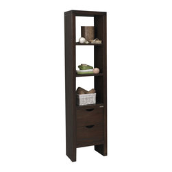 Macral - Nordico Linen Cabinet. Solid wood. Walnut - Not just a linen cabinet, but a tasteful way to display accent pieces in your bathroom. This handsome, solid wood linen cabinet in walnut finish features three shelves and two drawers.