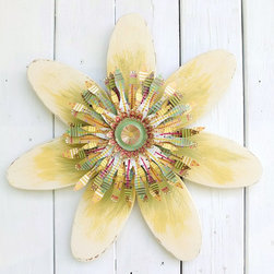 Souvenir Farm, Ltd. - Cottage Chic Wood & Metal Daisy Flower Wreath-Sage Green, Yellow & White - With colors drawn from Nature, this handcrafted cottage chic wood and metal daisy flower bursts with color, yet offers a relaxing fit anywhere it is displayed.