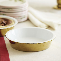 Ballard Designs - Gold Pie Dish - How about a little bling at the holiday table? We are crushing on gold right now, and this pie plate is perfect for the more modern table.