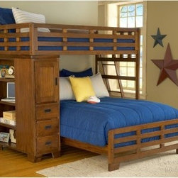 Heartland Student Loft Bed - The Heartland Twin over Full Student Bunk Bed is a beautiful piece of bedroom furniture that your children will love having. This bunk bed is made with sengon tekik solids and veneers with an easy to maintain finish. The bunk ladder has five mahogany steps for safety and durability. The bookcase features three drawers one door with a stationary shelf and four open stationary shelves. Some assembly required. We take your family's safety seriously. That's why all of our bunk beds come with a bunkie board slat pack or metal grid support system. These provide complete mattress support and secure the mattress within the bunk bed frame. Please note: Bunk beds and loft beds are only to be used by children 6 years of age or older. About American WoodcraftersFor unparalleled quality and value choose American Woodcrafters for your youth or master bedroom furniture. Founded in 1996 as a division of Rockford Capital Corporation and located in High Point N.C. American Woodcrafters is the brainchild of John N. Foster. His 40 years of experience in manufacturing marketing and product development inspire the company to deliver superior furniture designs of exceptional value. Each exquisite furniture piece is well-made and creatively styled with a fine quality finish and innovative features to make your home more beautiful and functional.