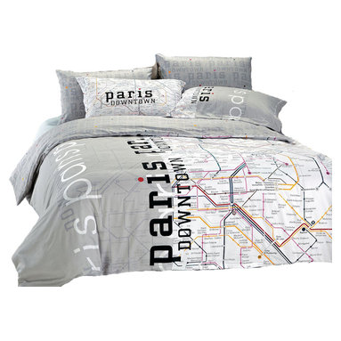 Le Vele - Paris Map Teen/Guess Room Bedding Modern Twin Duvet Covet Set, Le Vele LE297T - Decorate with fun and style with this 4 piece duvet cover set featuring a print of Paris Metro Map. The vivid color palate of this print creates a fun decor for guest and teen rooms.