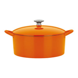 Dansk - Dansk Mario Batali by 6-quart Persimmon Round Dutch Oven - Experienced cooks like chef Mario Batali know that a cast iron Dutch oven is extremely versatile