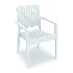 "Compamia - Ibiza Resin Wickerlook Dining Arm Chair White - Set of 2 - Ibiza resin wicker look armchair white. Wickerlook resin is a natural looking un-woven one piece furniture technology. Made with open weave design that resembles traditional woven wicker furniture. Will never unravel. No metal parts to rust, no moving parts that can break. Made for commercial durability. Perfect for hotels and restaurants. UV treated. Hose down for cleaning. Withstands outdoor temperatures summer and winter.; Made from commercial grade resin with gas injection molded legs, with non-skid rubber caps. Wickerlook resin weave design. Not Woven, will not unravel.; Extremely durable for outdoor temperatures.; Beautiful U.V. Resistant, Satin Finish. Easy to keep clean.; Perfect for heavy use in any indoor or outdoor areas. Stackable for easy storage.; Residential Use - 2 Years Limited Warranty. Commercial Use - 1 Year Limited Warranty; NO Assembly Required; Country of Origin: Turkey; Dimensions: 23""W x 23""D x 34""H., Seat Height: 18"""