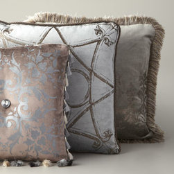 "ETOFFE MAKARA - ETOFFE MAKARA ""Gated Trellis"" Pillow with Brush Fringe - Exclusively ours. Individually crafted pillows feature copyrighted patterns meticulously highlighted in metallic ink. Handcrafted of cotton/rayon velvet. Hand-painted designs. Feather/down inserts. Dry clean. Made in the USA. Listed top to botto..."