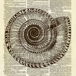 Altered Artichoke - Spiral Ocean Nautilus Seashell Dictionary Print, Sepia - This print features an antique illustration of a spiral nautilus seashell. It is a beautifully detailed drawing. A perfect decor accent for any room in your home.