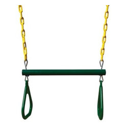 Gorilla Playsets Trapeze Assembly with Rings-Green / Yellow-17 in. - About Gorilla PlaysetsSince 1992, Gorilla Playsets has been designing and selling ready-to-assemble playsets. With a reputation for providing excellent customer service, Gorilla Playsets conveniently provides customers with affordable playsets including quality wood components, sturdy playset accessories, all necessary hardware, and clear instructions. Gorilla Playsets always keeps safety in mind while creating inventive, durable products that provide children with myriad possibilities for fun and play.