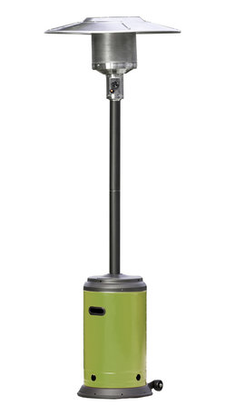 """Paramount - Avocado Green & Mocha Full Size Propane Patio Heater - The Avocado Green & Mocha Full Size Propane Patio Heater is the perfect way to extend your backyard entertaining season. This sturdy unit produces 46,000 BTU's using a standard 20 lb. propane tank (not included) and has wheels for easy mobility. The """"on-trend"""" mocha and avocado green will bring style and personality to your favorite outdoor space."""