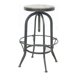 Four Hands - Bristol Barstool - Grab your swizzle sticks and set your bar stool to the right height with ease. It's made of iron with an all-around foot rest and a bleached pine top, so you'll enjoy industrial-chic café counter- or bar-height seating for years to come.