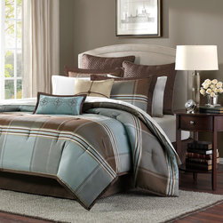 """Madison Park - Madison Park Lincoln Square 8 Piece Comforter Set - For an updated classic color block bedding collection, you can't go wrong with Lincoln Square. The color blocks are in shades of brown, grey and light blue. The woven comforter offers unique weave details that add texture and dimension to the design of this comforter. The reverse is a solid warm brown. Comforter & Sham: 100% polyester jacquard with polyoni piping, 100% polyester brushed fabric back, 270g/m2 poly fill; euro sham: polyoni; Bedskirt: 100% polyester polyoni drop, poly platform; square pillow 18x18"""": 100% polyester polyoni cover with polyoni string tie with wood bead on face, poly fill; oblong Pillow 10x18"""": 100% polyester polyoni cover withemb,poly fill"""
